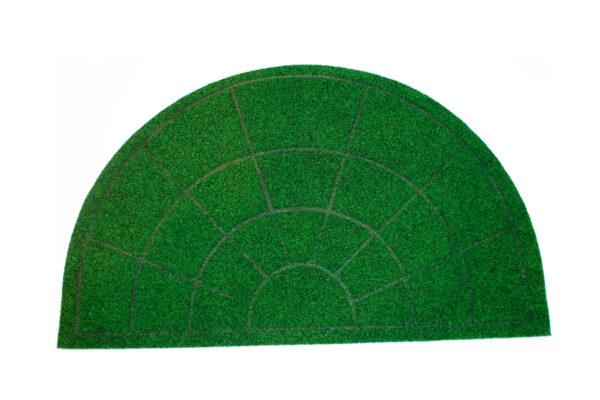 vihreä puolikaaren muotoinen kynnysmatto