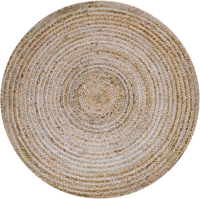 Pyöreä luonnonvärinen juuttimatto Sommar. Sommar on juuttihamppumatto