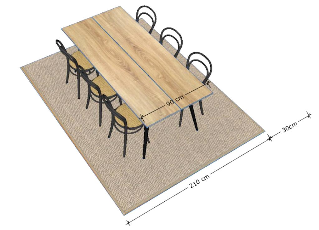 Ruokapöydän maton oikeat koot ja etäisyys seinästä